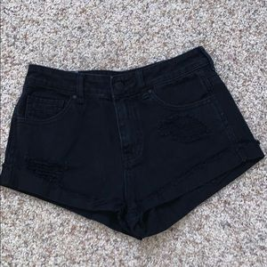 Kendall and Kylie Black Denim Ripped Shorts